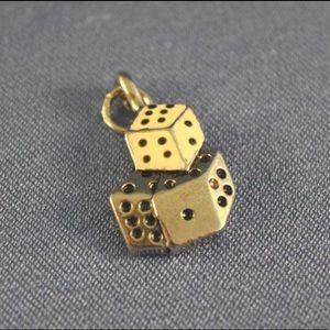 Dice die sterling silver pendant